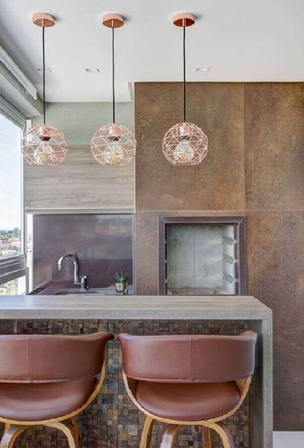 pendente aramado cobre redondo para varanda gourmet com churrasqueira Foto Pinterest