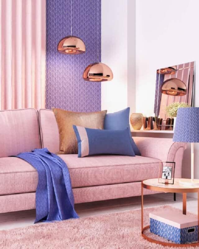 pendente cobre rose para decoração de sala roxa e rosa Foto Blog Thalita Santos