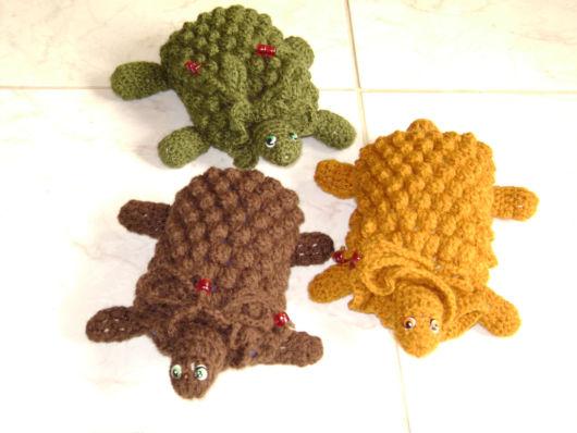 Green, yellow and brown turtle crochet door weight