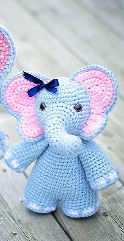 Peso de porta de crochê com elefante