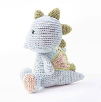 Peso de porta de crochê dragão