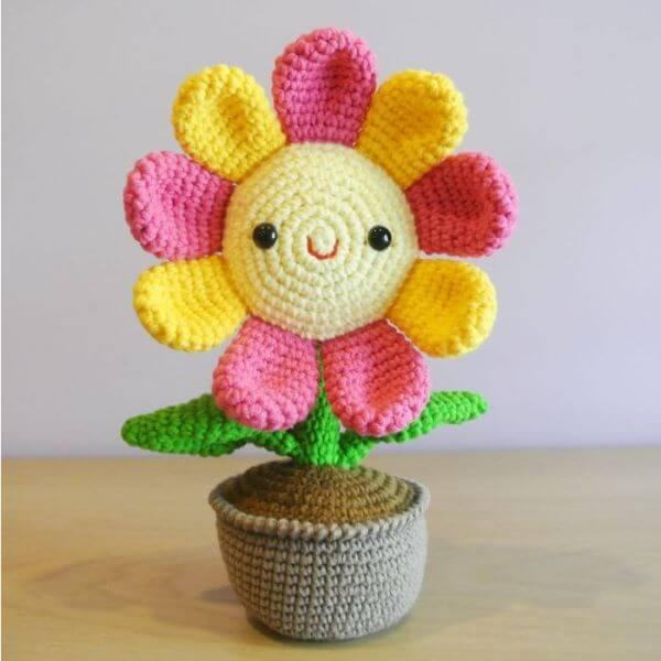 Peso de porta de crochê com flor para cozinha