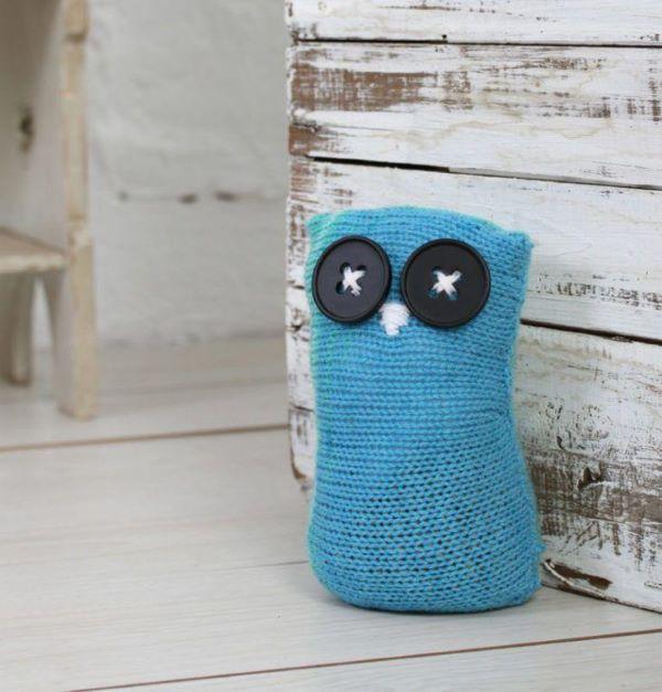 Peso de porta de crochê de coruja