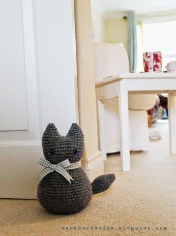 Peso de porta de crochê de gatinho para quarto