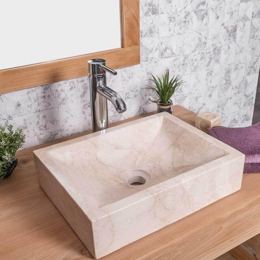 pia de mármore para banheiro pequeno Foto Wanda Collection