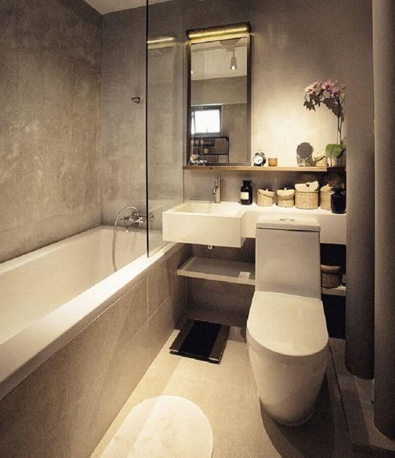 pia para banheiro pequeno decorado com cimento queimado Foto Webcomunica