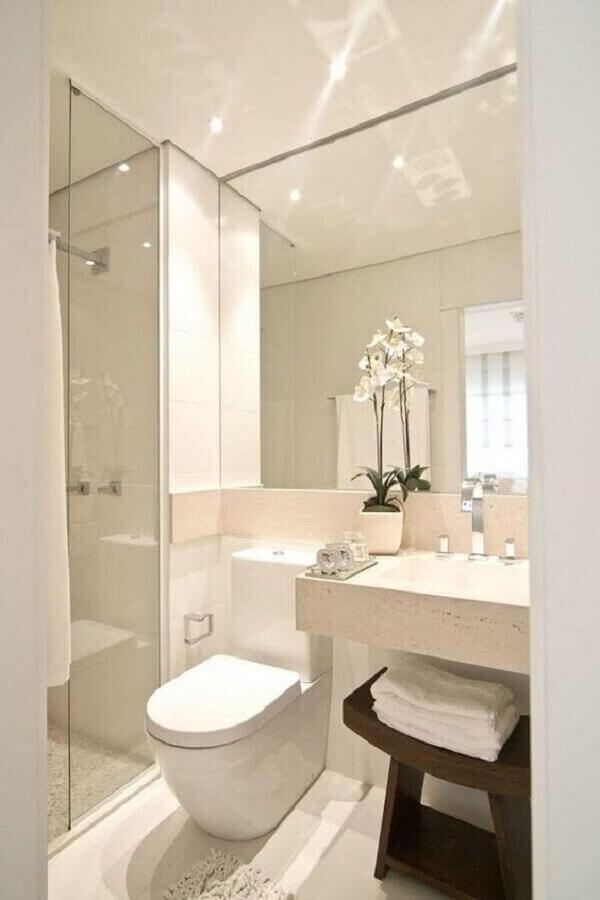 pia para banheiro pequeno todo branco Foto Pinterest