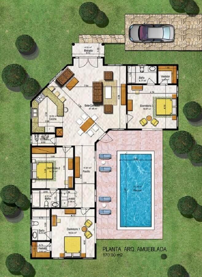 planta de casa em l com piscina Foto DR Properties