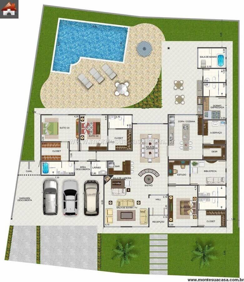 planta de casa em l com piscina e 4 quartos Foto Pinterest