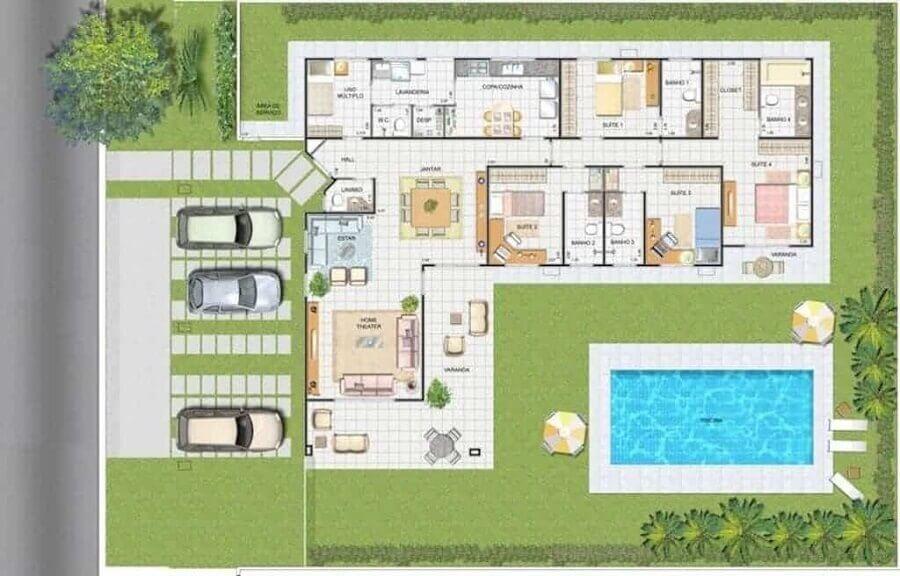 planta de casa em l com piscina e 4 suites Foto Webcomunica