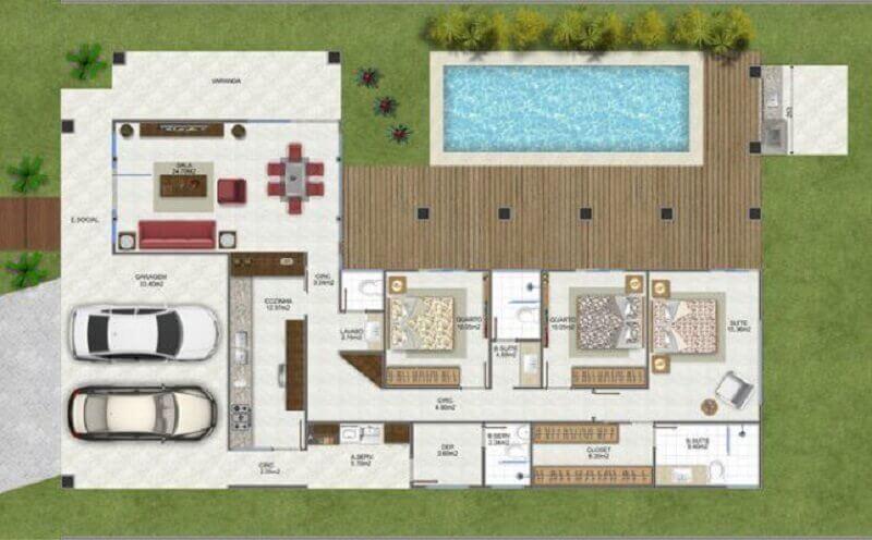 planta de casa em l com piscina e garagem para 2 carros Foto Plantas de Casas