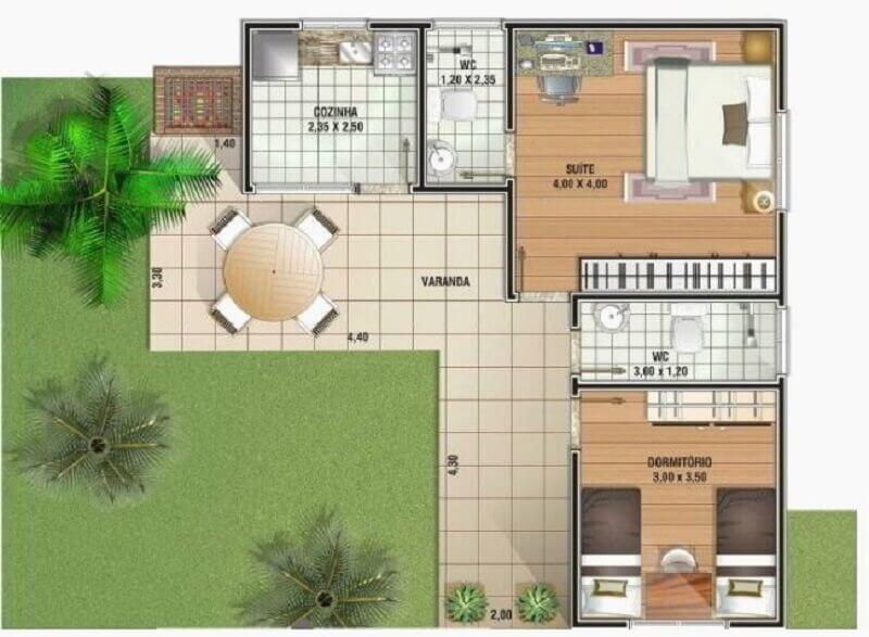 planta de casa em l com varanda e dois quartos Foto Pinterest