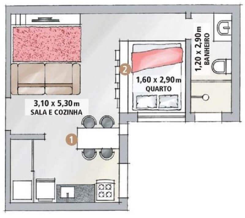 planta de casa pequena em l Foto Casa com Moda