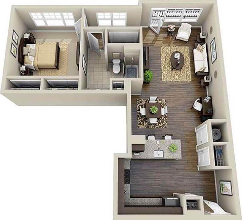 planta de casa pequena em l Foto Home Design Lover