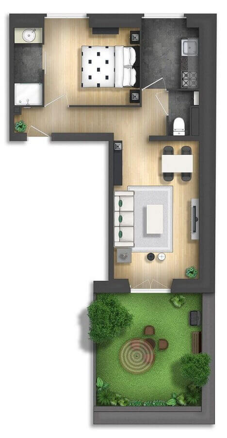 planta de casa pequena em l com jardim Foto Pinterest