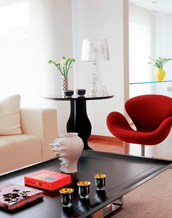 Poltronas decorativas para sala vermelha