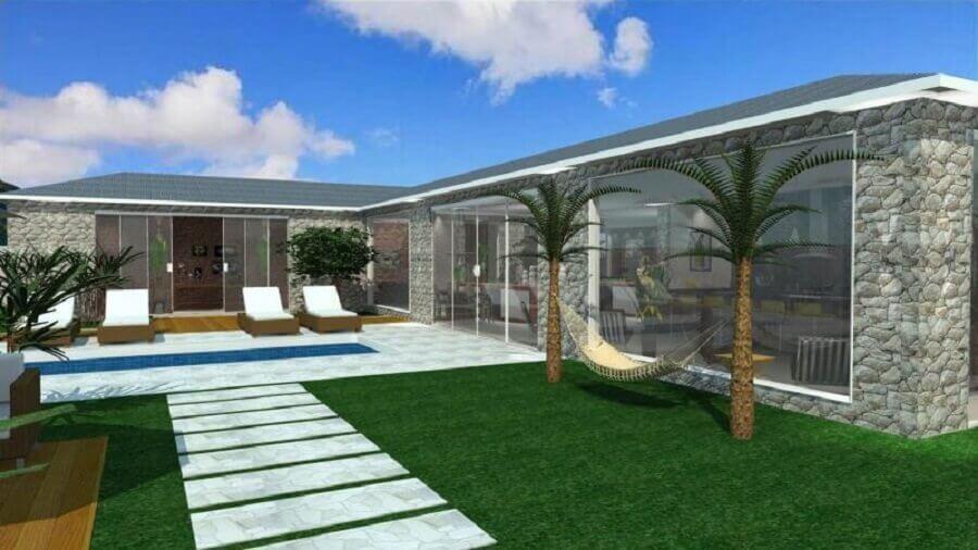 projeto de casa em l com jardim Foto Barbara Borges Projetos