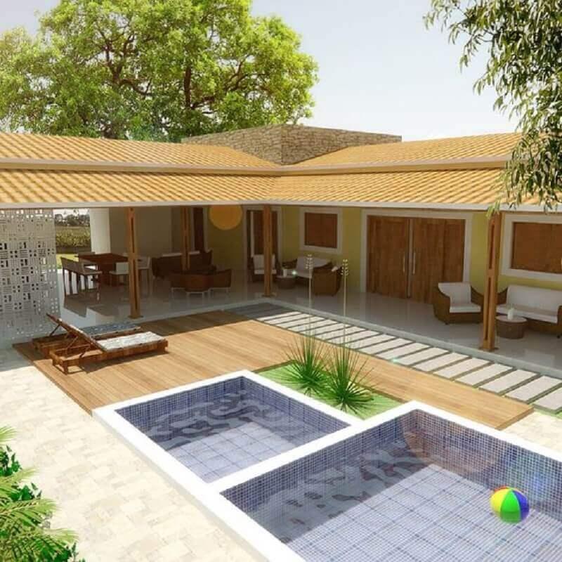 projeto de casa em l com piscina e varanda Foto Pinterest