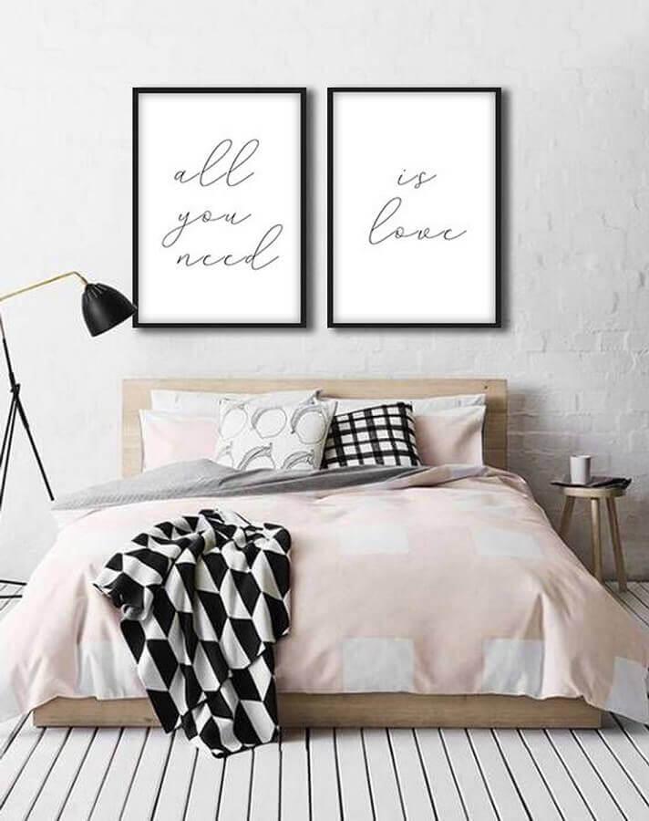 quadro branco e preto para quarto de casal com decoração minimalista Foto Pinterest