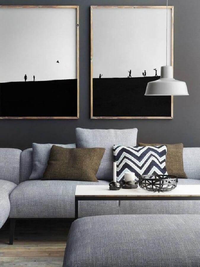 quadro preto e branco grande para sala moderna com sofá cinza Foto Wood Save