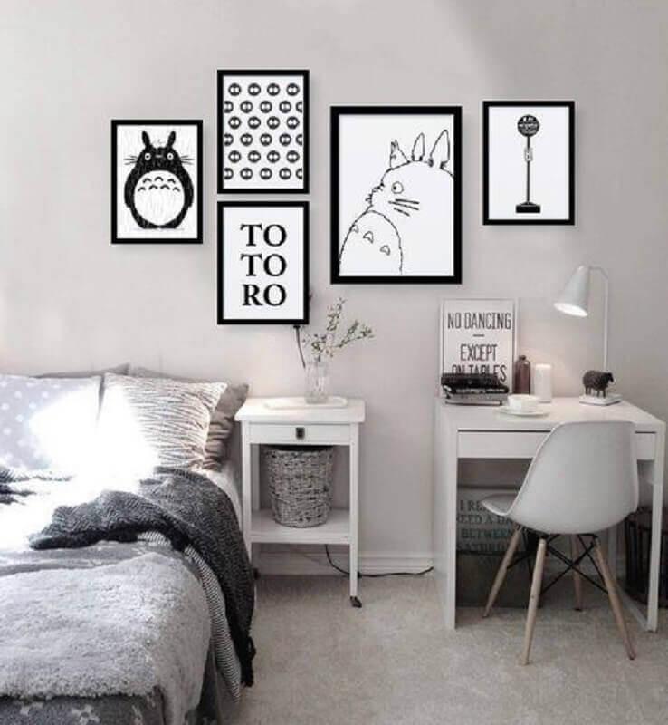 quadro preto e branco para quarto simples Foto Dama Arteira