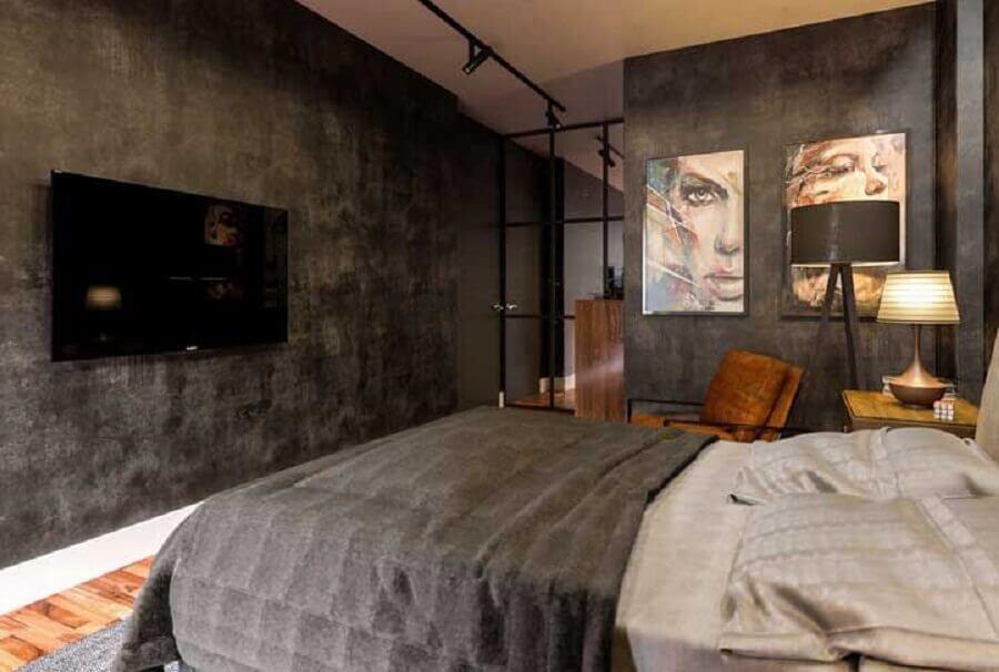 quadros decorativos para quarto de casal moderno com paredes de cimento queimado Foto Homedit