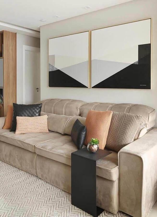 quadros decorativos preto e branco com sofá bege Foto Ideias Decor