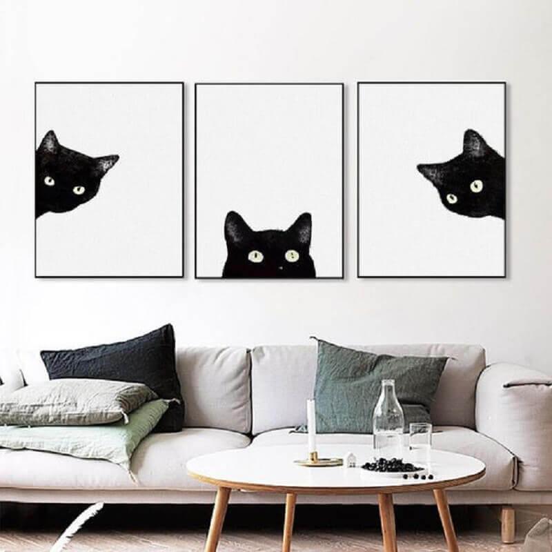 quadros decorativos preto e branco de gatos Foto Rouse the Room