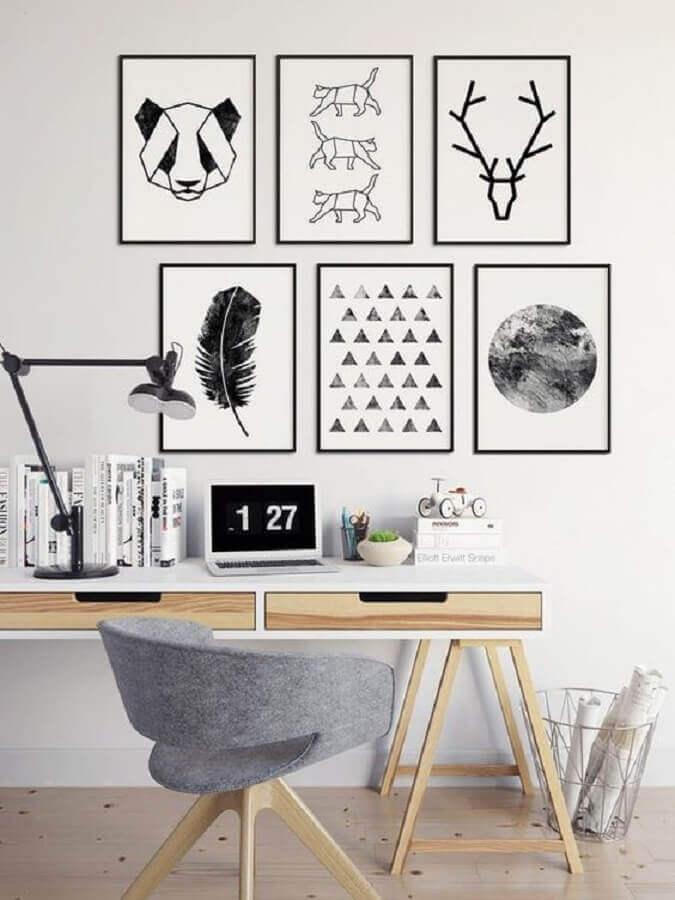 quadros decorativos preto e branco para home office pequeno Foto Dovenda