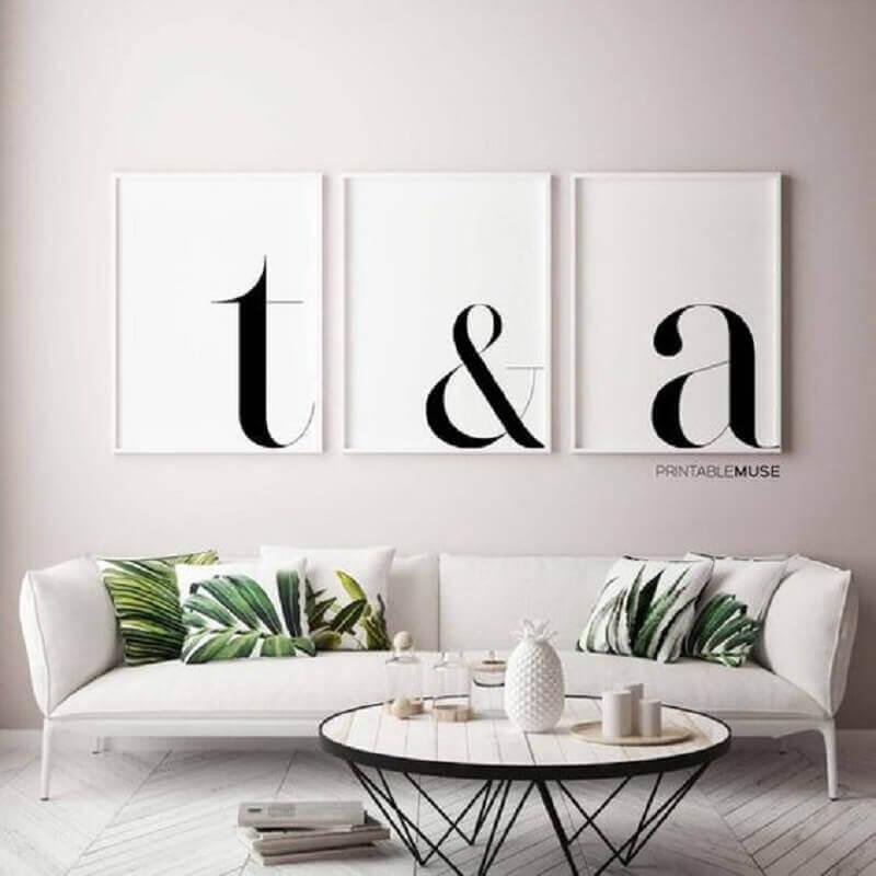 quadros decorativos preto e branco para sala clean Foto Etsy
