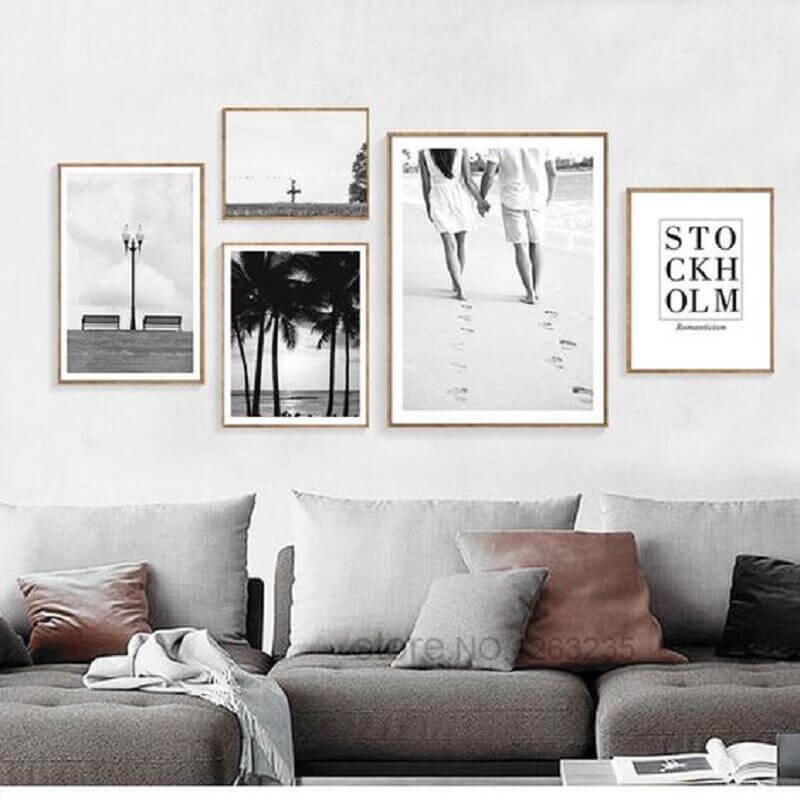 quadros decorativos preto e branco para sala com decoração clean Foto Elleseal