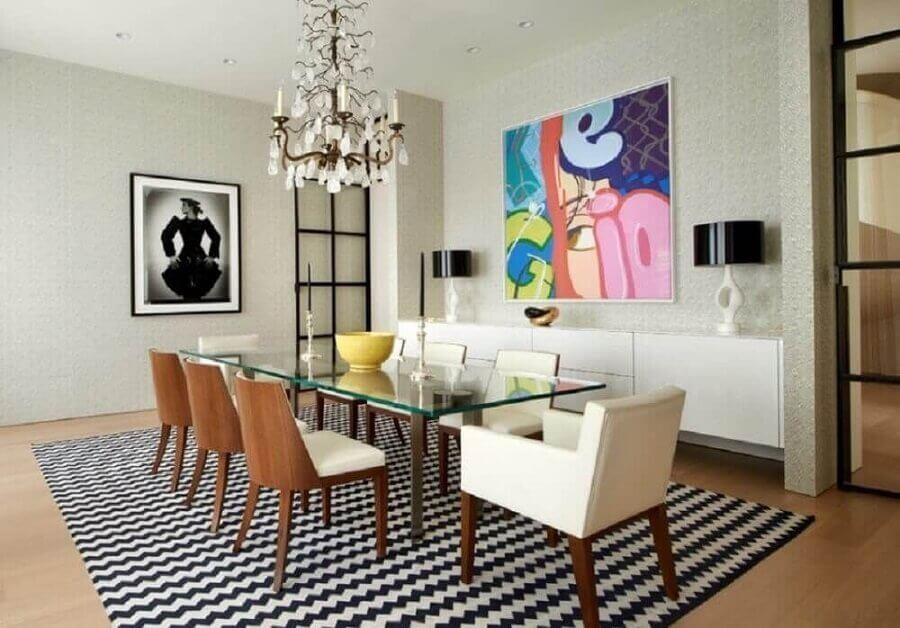 quadros decorativos preto e branco para sala de jantar com quadro grande colorido Foto Webcomunica