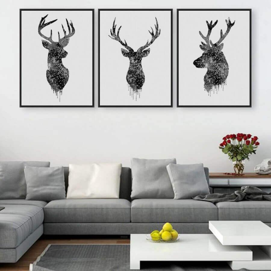quadros decorativos preto e branco para sala moderna com sofá cinza Foto DHgate