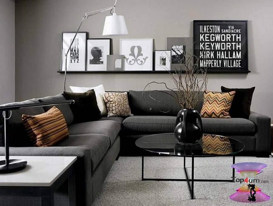 quadros decorativos preto e branco para sala moderna com sofá de canto mo Foto 33Decor