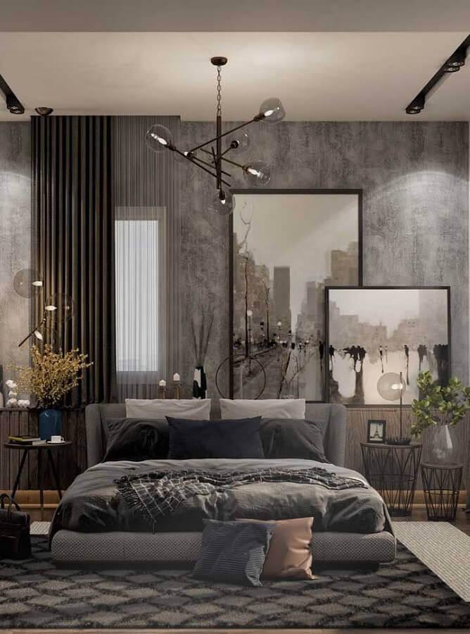 quadros grandes para decoração de quarto de casal cinza moderno Foto Pinosy