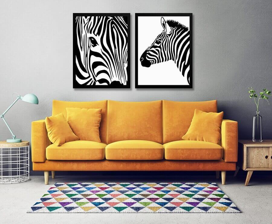 quadros preto e branco de zebra para decoração de sala com sofá amarelo Foto Elo7