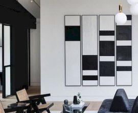 quadros preto e branco para sala com decoração contemporânea Foto Pinosy