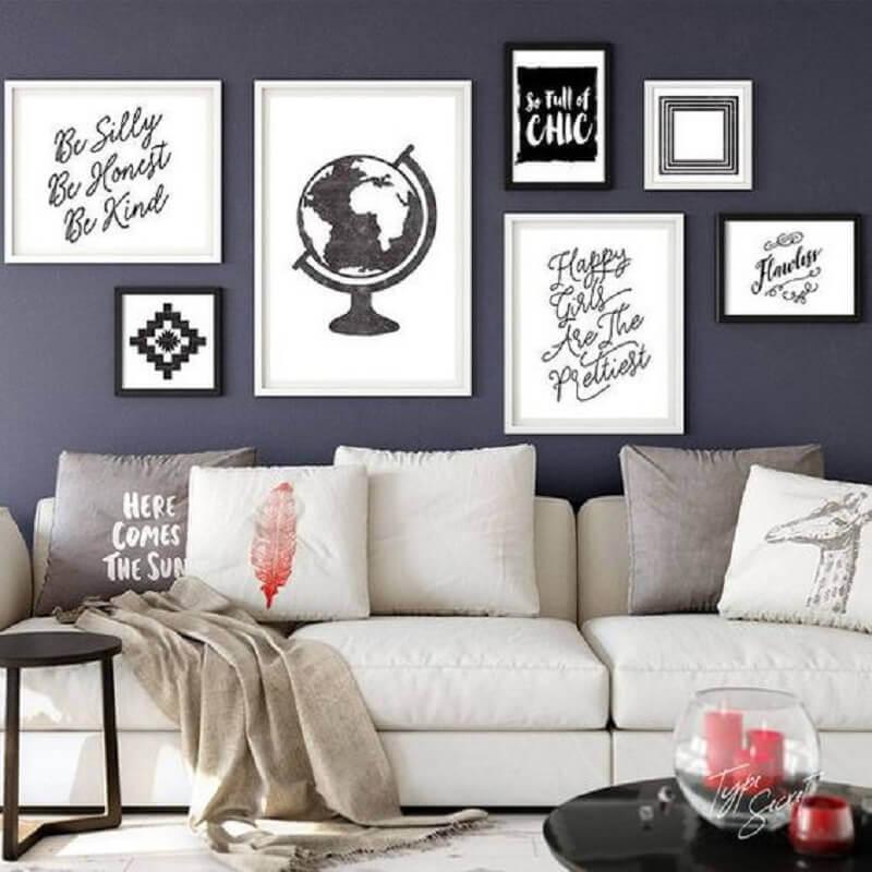 quadros preto e branco para sala com parede cinza Foto Etsy