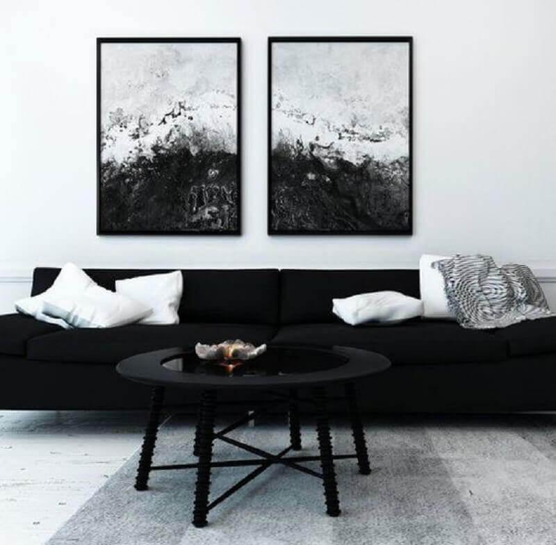 quadros preto e branco para sala com sofá preto Foto Etsy