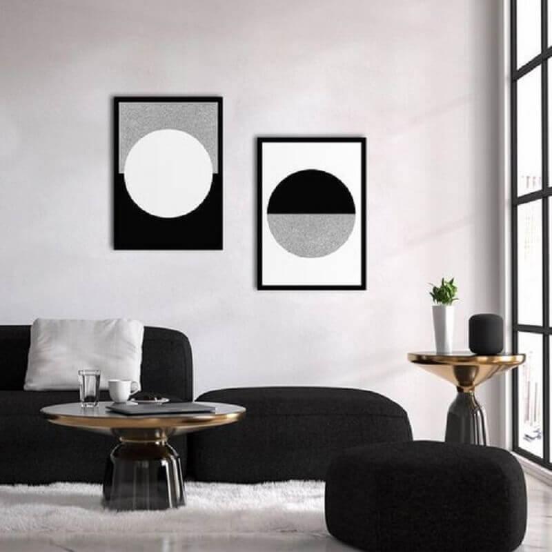 quadros preto e branco para sala moderna Foto Etsy