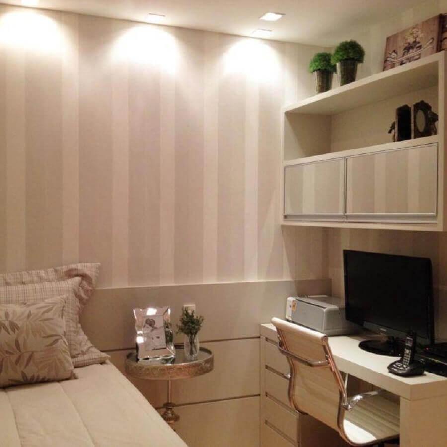 quarto juvenil feminino decorado em cores neutras Foto Mariane e Marilda Baptista Arquitetura e Interiores