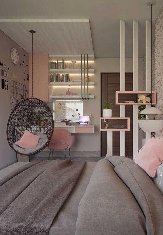 quarto juvenil feminino rosa e cinza com balanço redondo Foto Pinterest