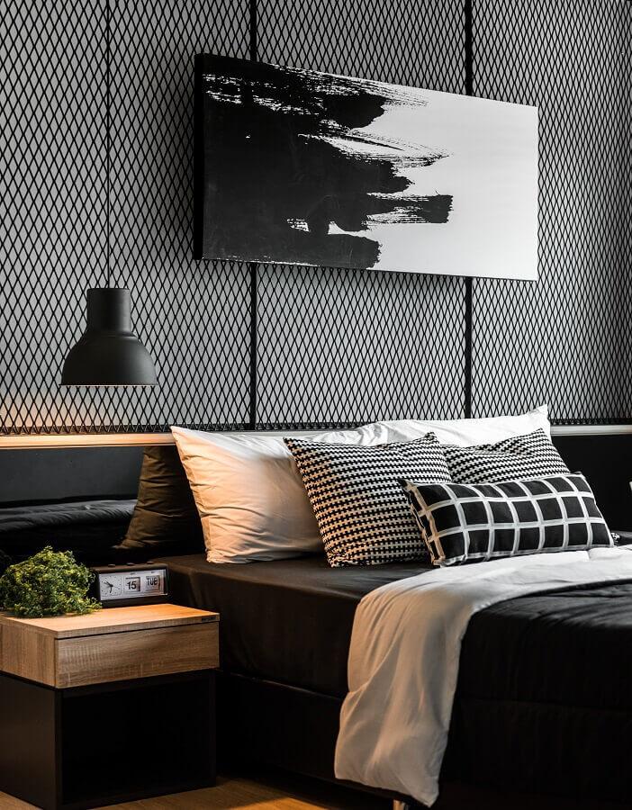 quarto juvenil masculino preto e branco com decoração moderna Foto Behance