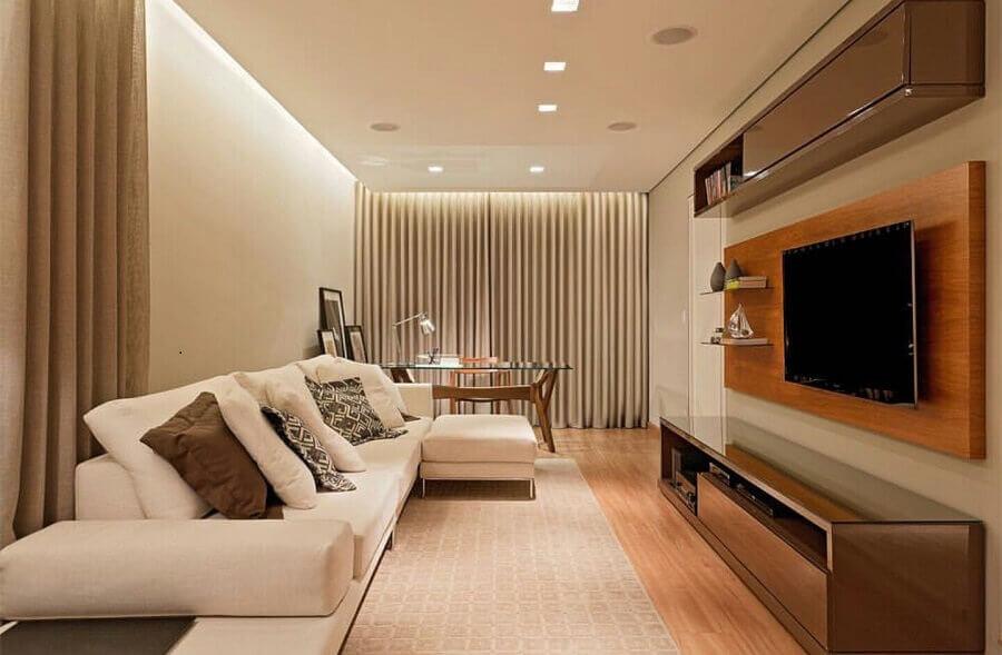 rack com painel de madeira para decoração de sala em tons neutros Foto LEDS Arquitetura
