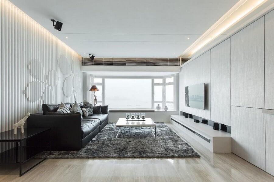 rack com painel para sala branca e cinza decorada com revestimento 3d Foto UniLED