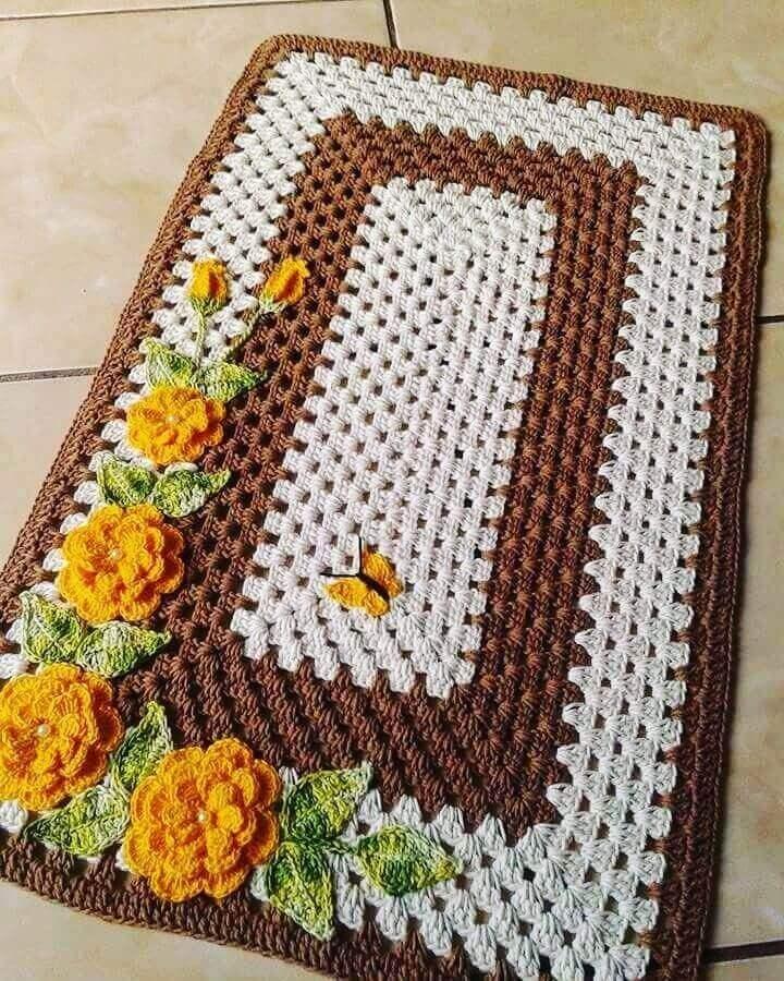 yellow crochet rose for carpet Foto Portal Dicas