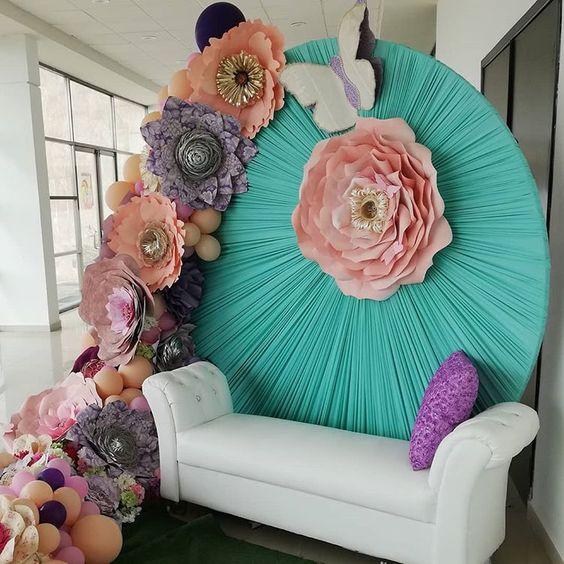 rosas de papel - área de foto com rosa de papel