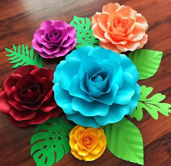 rosas de papel - centro de mesa de rosas de papel