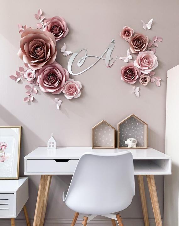 rosas de papel - decoração de parede com rosas de papel