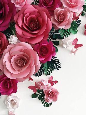 rosas de papel - flores gigantes rosas